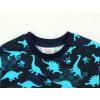 Dětské triko s dlouhým rukávem dinosauři modré detail krku