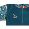 Dětská softshellová bunda bagry na petrolejové detail reflexního prvku