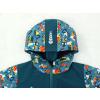 Dětská softshellová bunda bagry na petrolejové detail kapuce