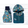 Dětská softshellová bunda bagry na petrolejové detail kombinace
