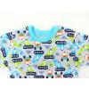 Dětské pyžamo bagry na stavbě zelené detail krku