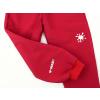 Dětské červené softshellové kalhoty s vysokým pasem detail reflexního prvku2