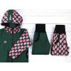 Dětská zateplená softshellová bunda jahůdky detail kombinace