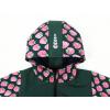 Dětská zateplená softshellová bunda jahůdky detail garáže detail kapuce