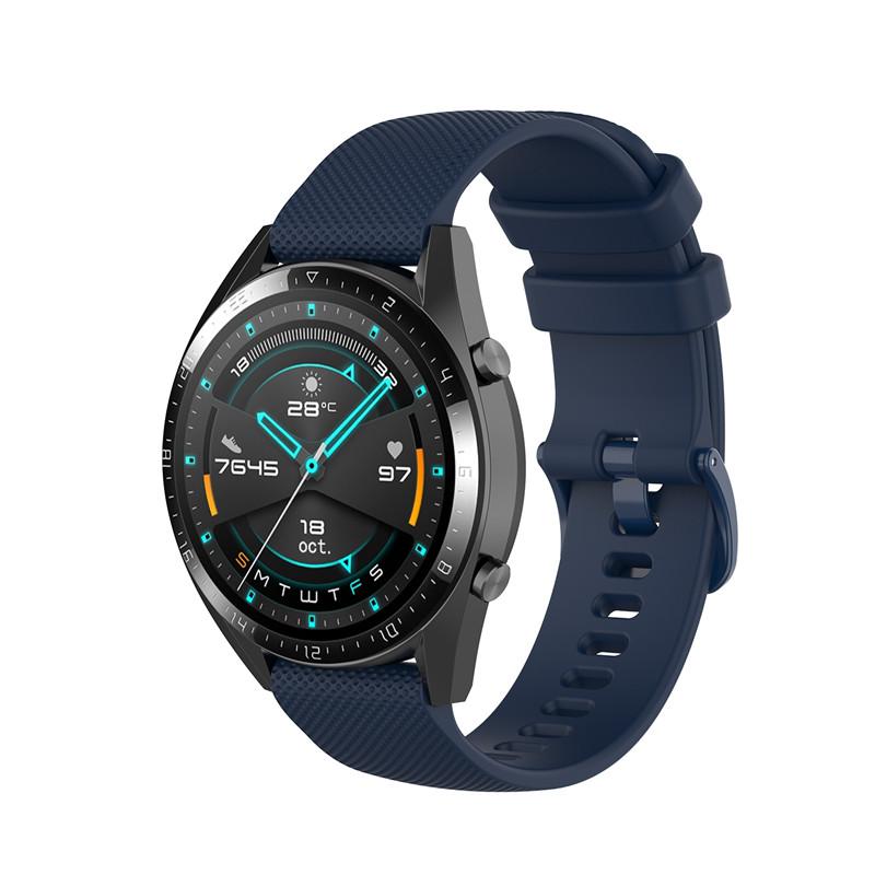 Náhradní řemínek šířka 20 mm Samsung Galaxy Watch 42 mm Xiaomi GTR 42 mm a další jednobarevný s přezkou v barvě řemínku 2003 Barva: tmavě modrá