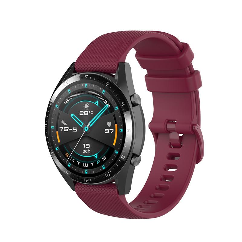Náhradní řemínek šířka 20 mm Samsung Galaxy Watch 42 mm Xiaomi GTR 42 mm a další jednobarevný s přezkou v barvě řemínku 2003 Barva: vínová