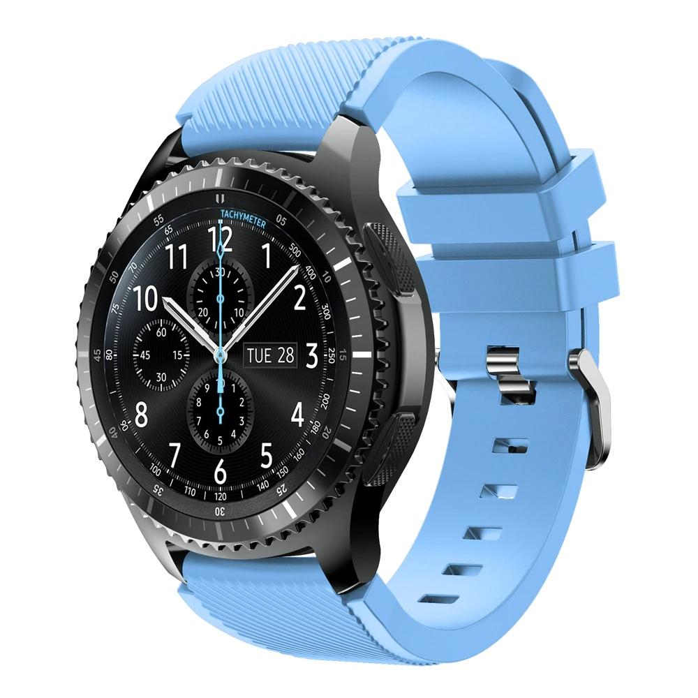 Náhradní řemínek univerzální šířka 22 mm pro Samsung Galaxy Watch 3 Xiaomi GTR 47 mm Forerunner 745 s přezkou různé barvy 2201 Barva: světle modrá,…
