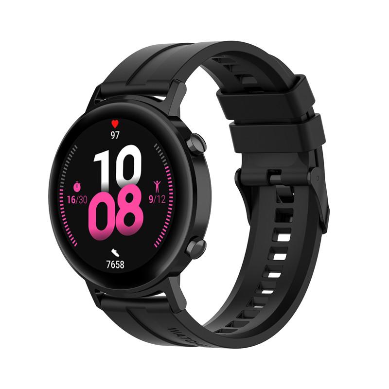 Náhradní řemínek univerzální šířka 22 mm pro Samsung Galaxy Watch 3 Xiaomi GTR 47 mm Forerunner 745 s přezkou různé barvy 2201 Barva: černá, Zapínání…