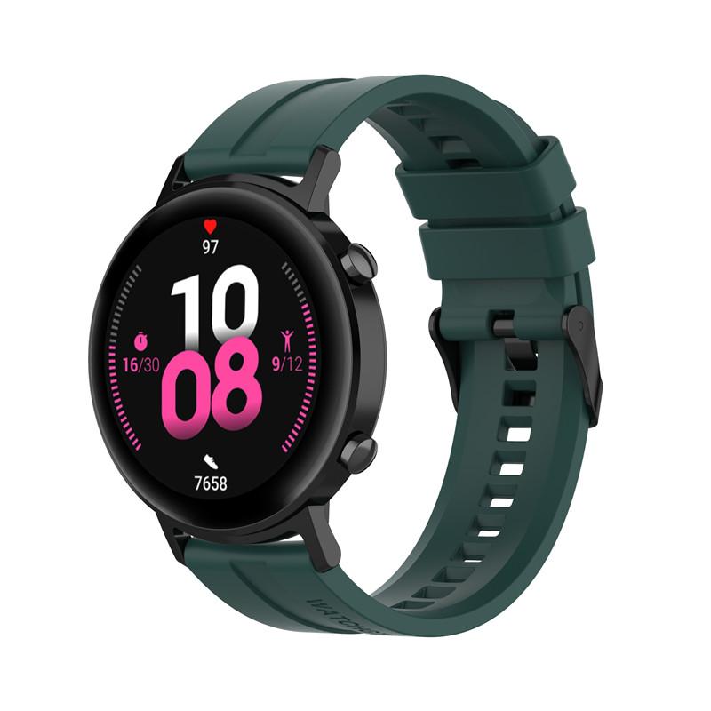 Náhradní řemínek univerzální šířka 22 mm pro Samsung Galaxy Watch 3 Xiaomi GTR 47 mm Forerunner 745 s přezkou různé barvy 2201 Barva: lesní zelená,…