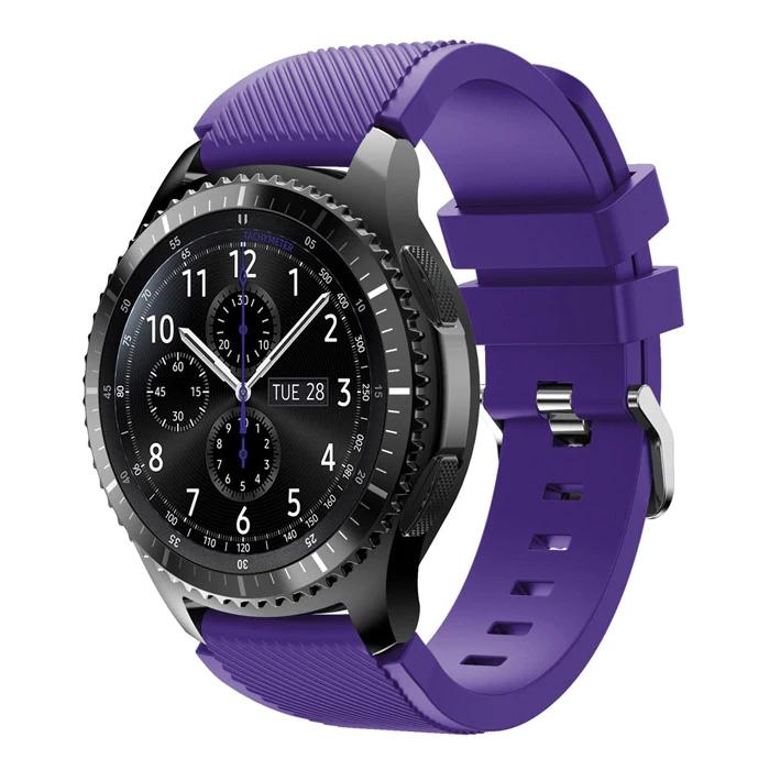 Náhradní řemínek univerzální šířka 22 mm pro Samsung Galaxy Watch 3 Xiaomi GTR 47 mm Forerunner 745 s přezkou různé barvy 2201 Barva: Fialová,…