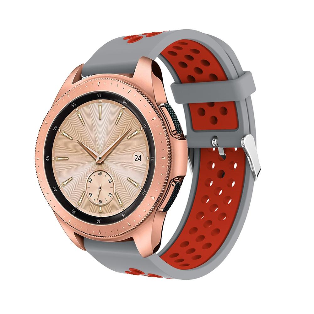 Náhradní řemínek šířka 22 mm Samsung Galaxy Watch 3 Huawei Watch GT 2 PRO Xiaomi GTR 47 mm a další 2204 Barva: Šedás červenou