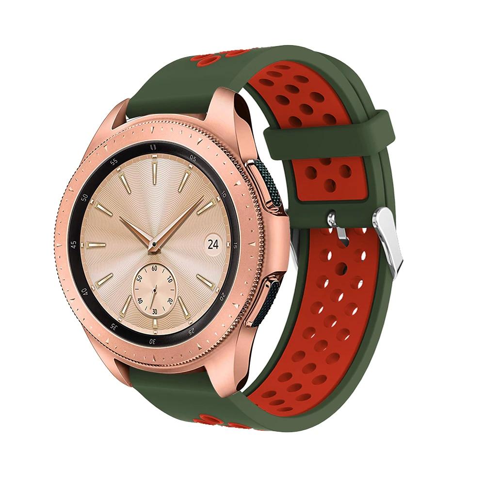 Náhradní řemínek šířka 22 mm Samsung Galaxy Watch 3 Huawei Watch GT 2 PRO Xiaomi GTR 47 mm a další 2204 Barva: Tmavě zelená s červenou