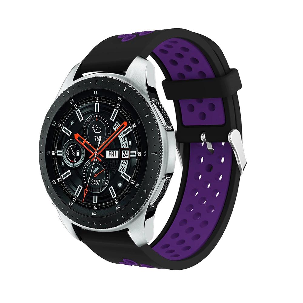 Náhradní řemínek šířka 22 mm Samsung Galaxy Watch 3 Huawei Watch GT 2 PRO Xiaomi GTR 47 mm a další 2204 Barva: černá s fialovou