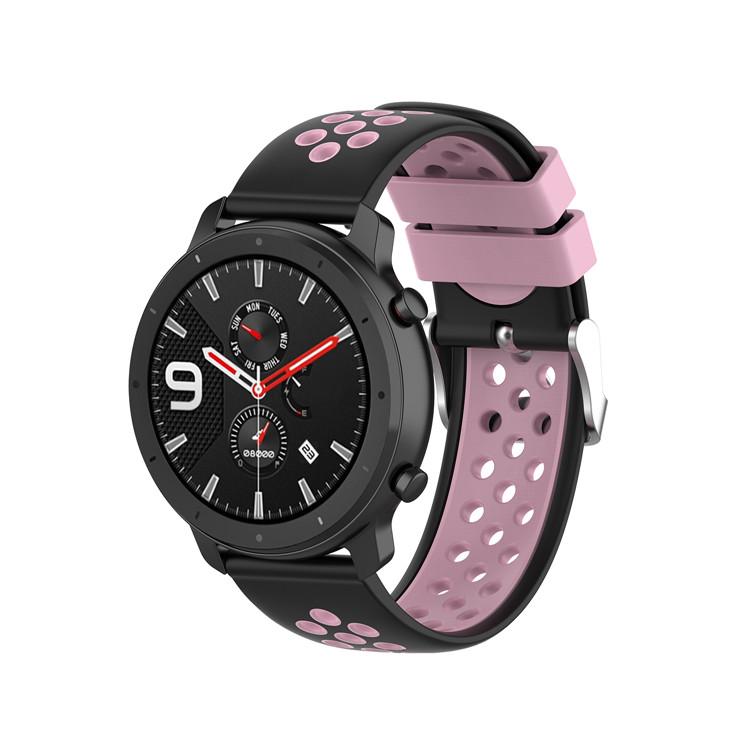 Náhradní řemínek šířka 22 mm Samsung Galaxy Watch 3 Huawei Watch GT 2 PRO Xiaomi GTR 47 mm a další 2204 Barva: světle růžová s černou