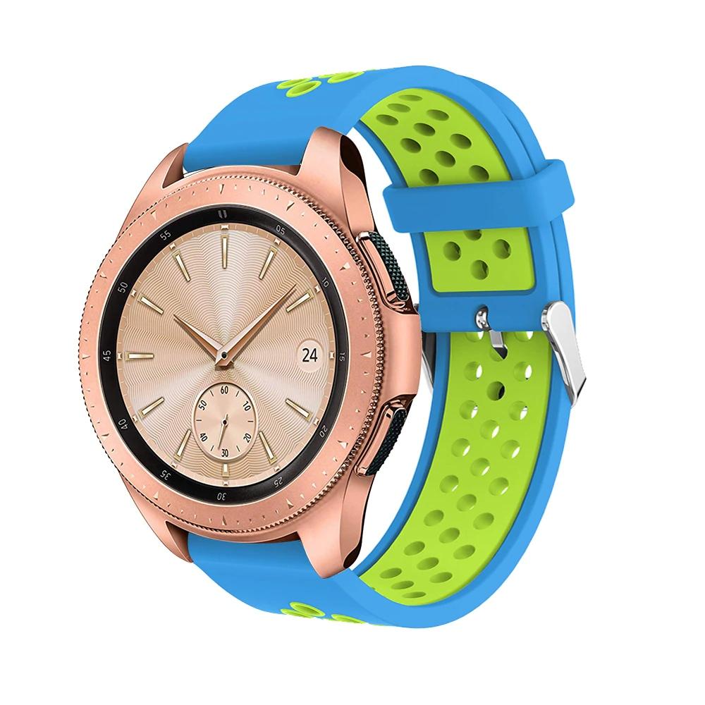 Náhradní řemínek šířka 22 mm Samsung Galaxy Watch 3 Huawei Watch GT 2 PRO Xiaomi GTR 47 mm a další 2204 Barva: světle modrá se zelenou