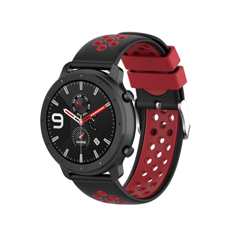Řemínek š.20mm Samsung Watch 42mm,Xiaomi GTS,GTR 42mm Motiv, barva náramku: Barva kombinace černá s červenou