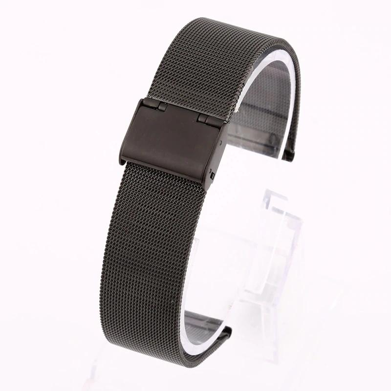 Náhradní řemínek univerzální nerezový šířka 20 mm Samsung Galaxy Watch 42 mm Xiaomi GTS GTR 42 mm BIP a další 2006 Barva: černá, Zapínání náramku:…