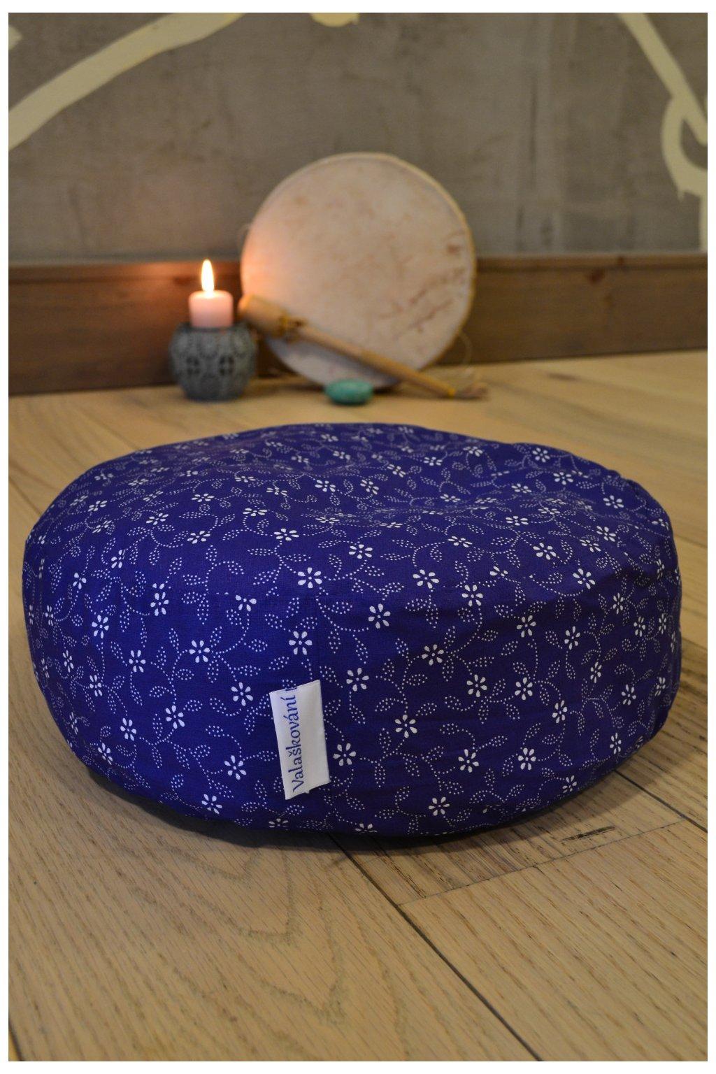 meditační polštář modrotisk