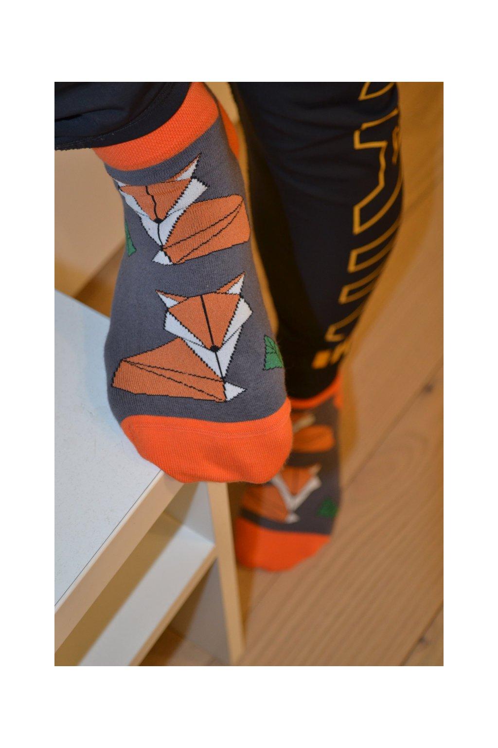 Kotníkové ponožky s liškama
