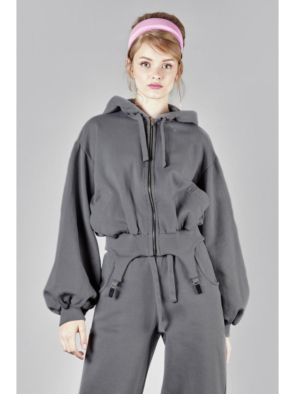 Vandahood hoodie with zip gray