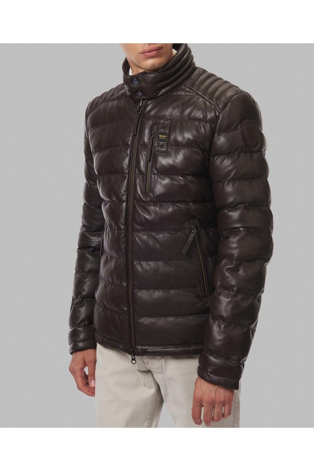 Pánská kožená bunda Blauer 21WBLUL01183 hnědá