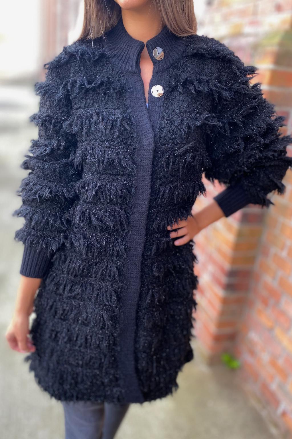 Dámský vlněný kabát s třásněmi Twinset 212TT3060 černý