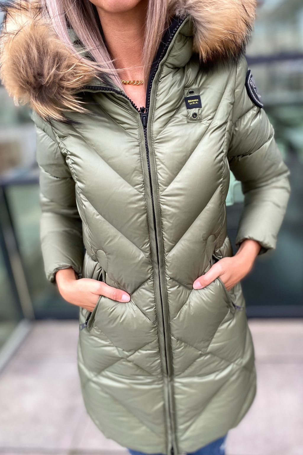 Dámská dlouhá péřová bunda Blauer 21WBLDK03043 khaki zelená