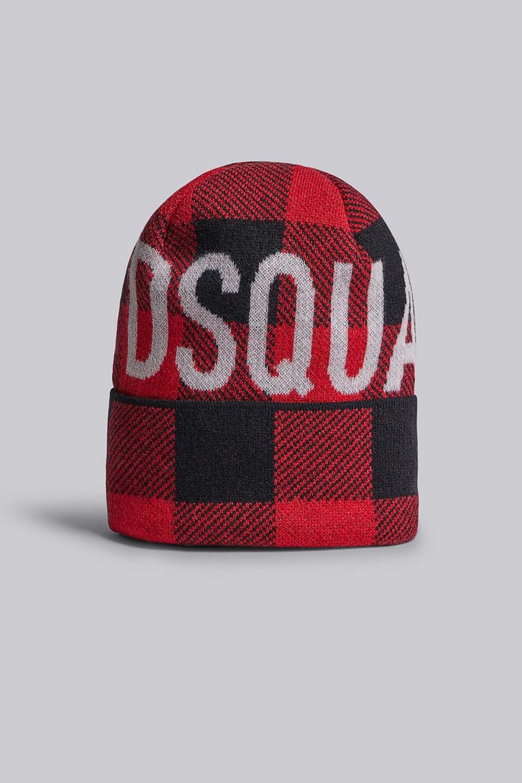 Pánská zimní čepice Dsquared2 Buffalo Lumberjack červená
