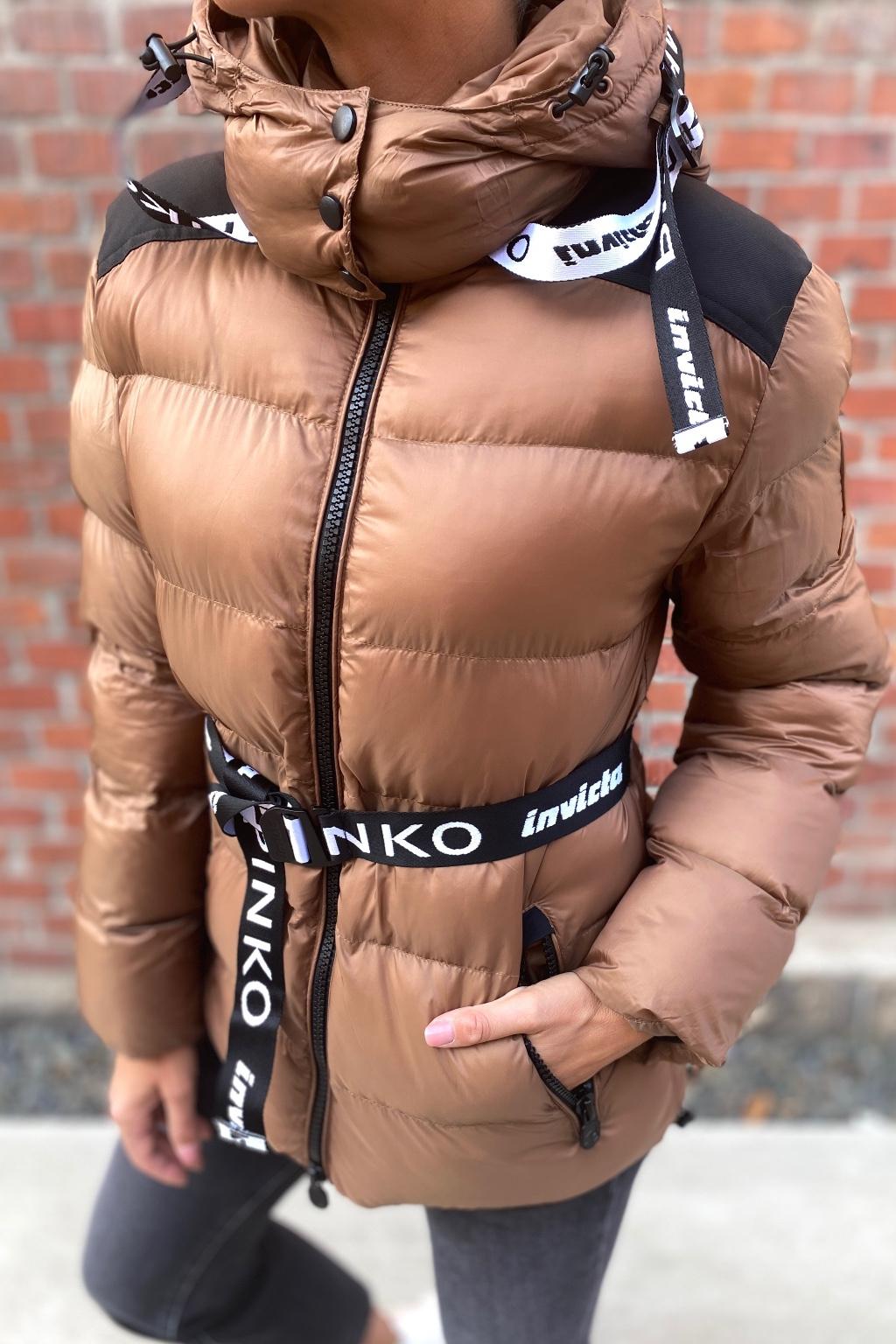 Dámská zimní bunda Pinko 1G16XKY833L67 hnědá