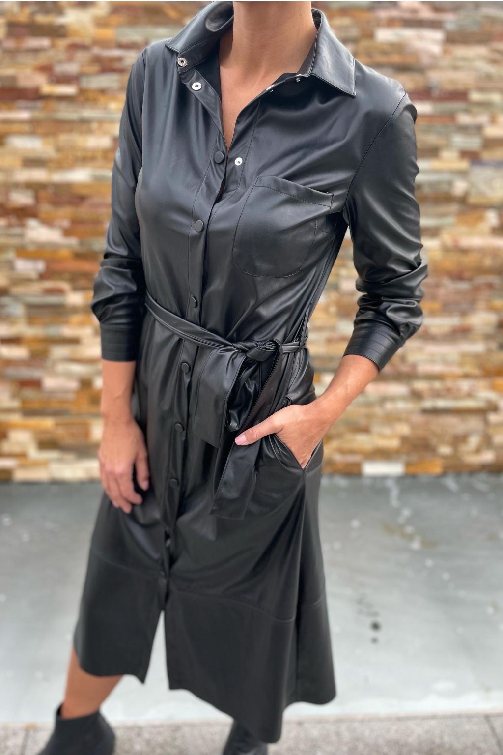 Dámské koženkové šaty Pinko 1G168RY7CDZ99 černé