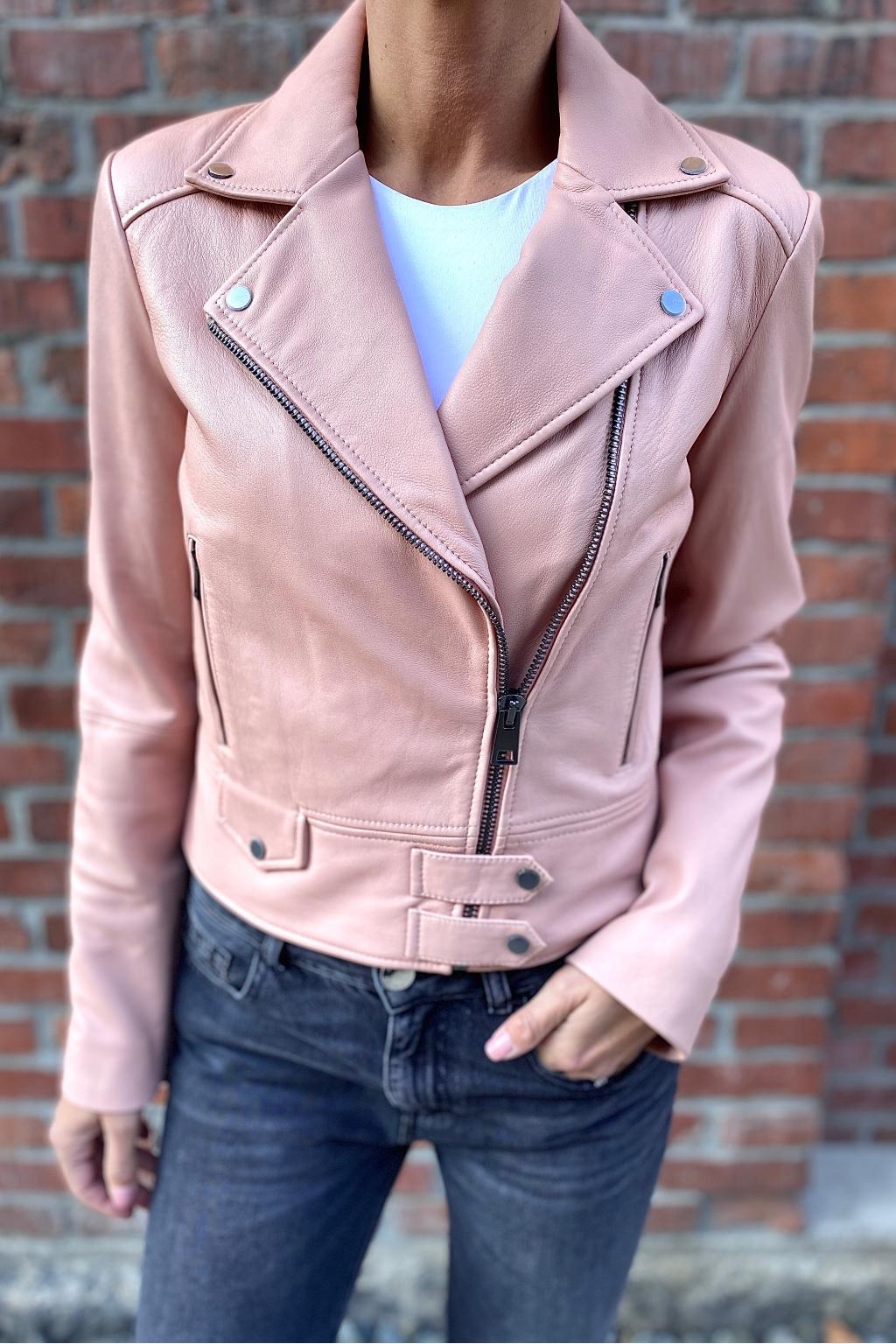 Dámská kožená bunda Pinko 1G1696Y6WLO36 růžová 2
