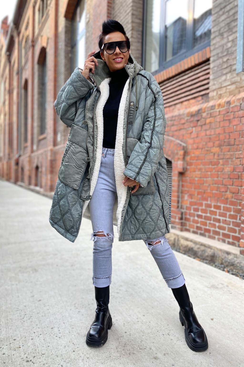 Dámský kabát Diesel W DAYA šedý