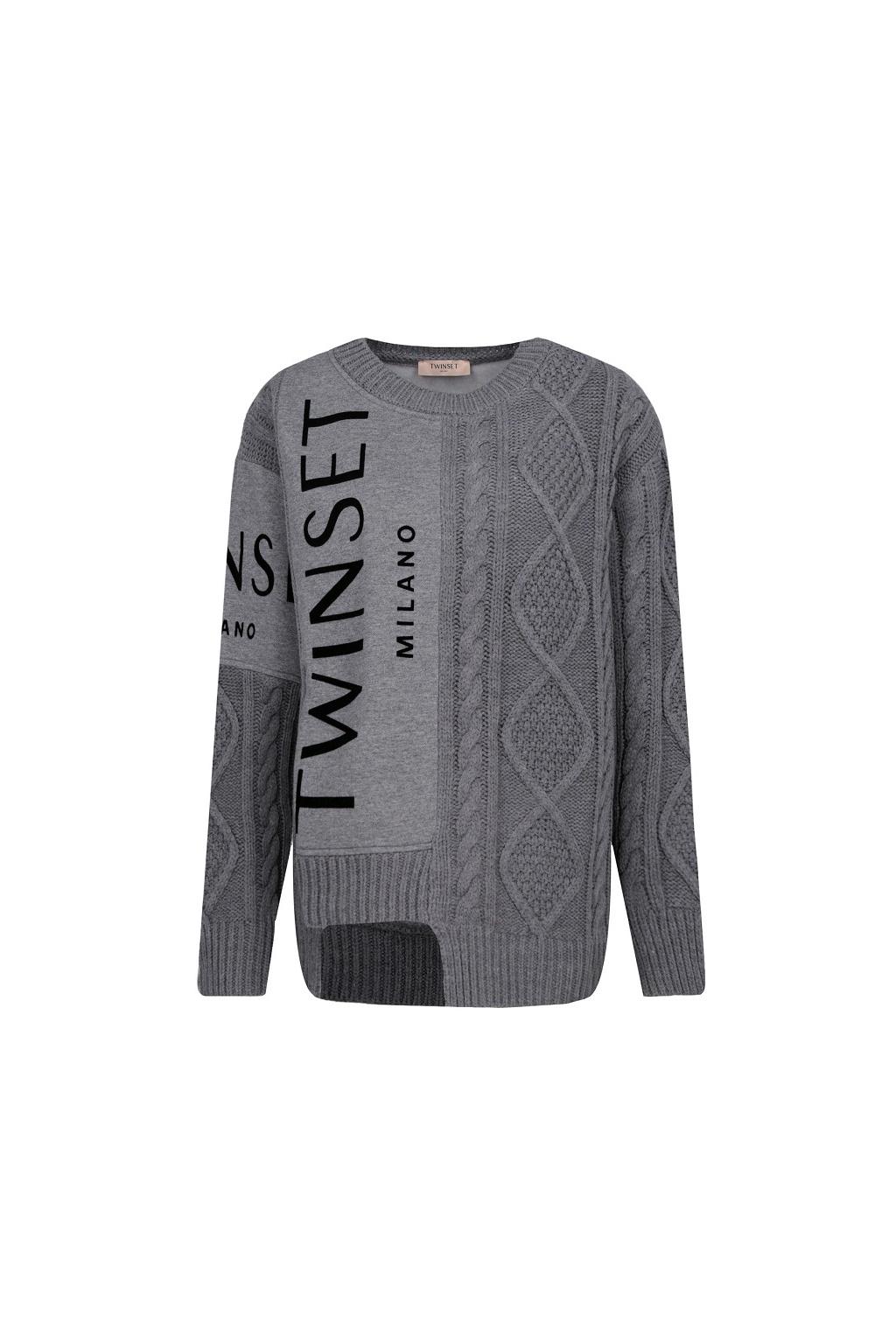 192TT3060 Twinset pletený svetr šedý