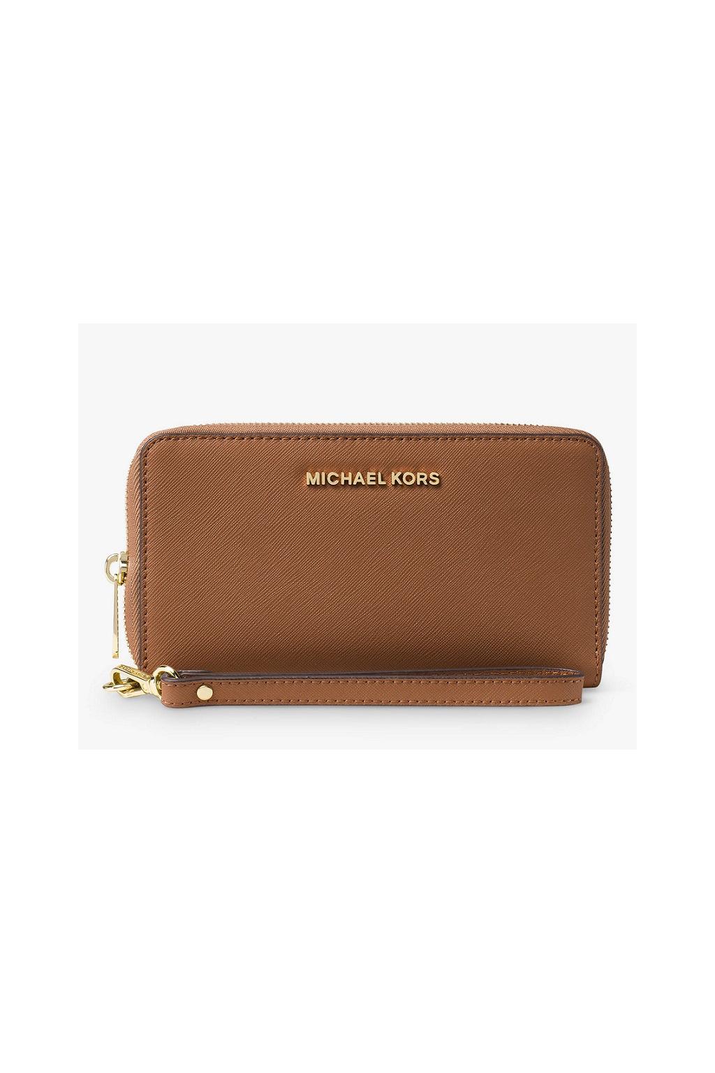 34F9GTVE9L Peněženka Michael Kors Jet Set Travel Phone Case Leather hnědá