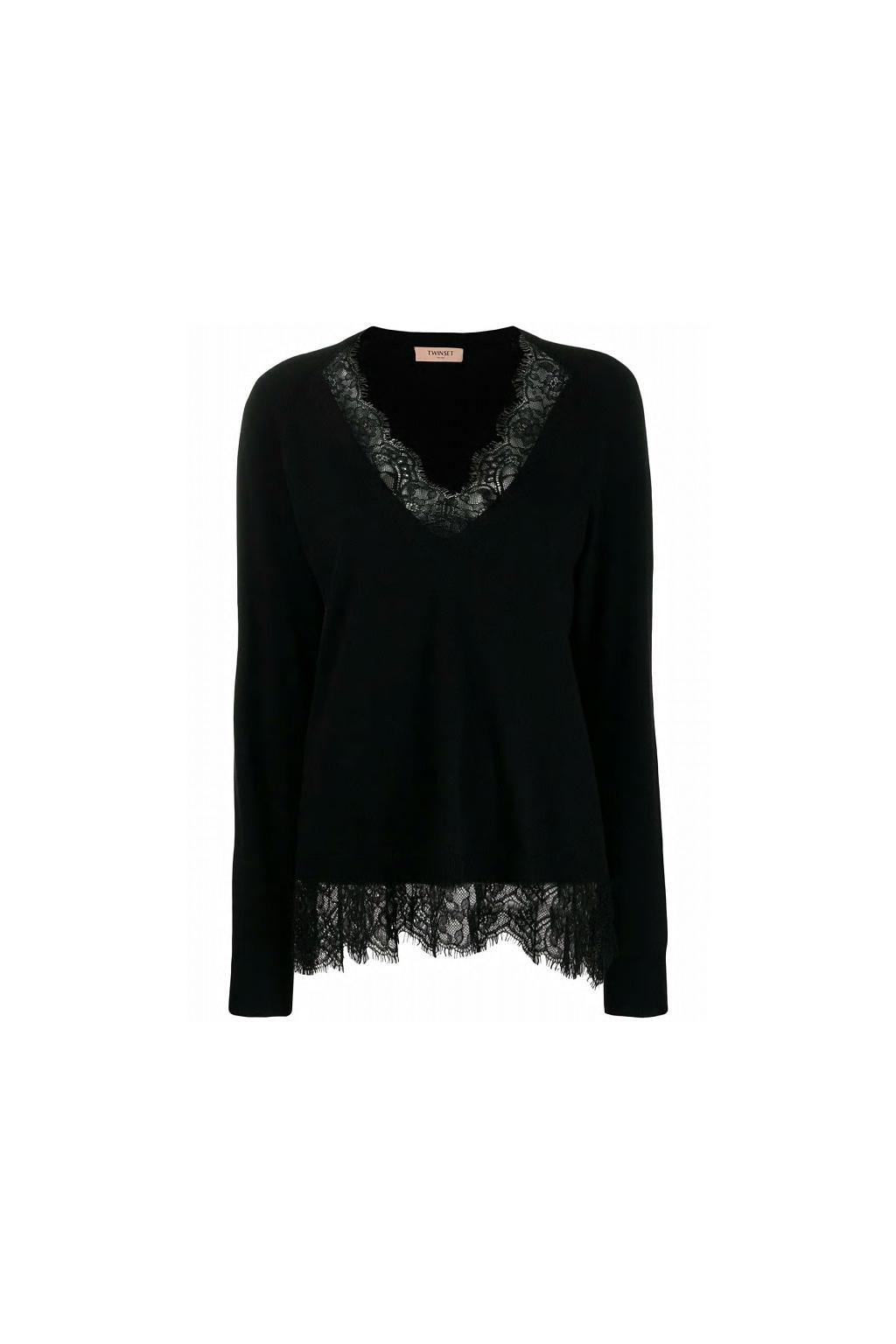 192TP3161 Dámský pletený svetr Twinset černý