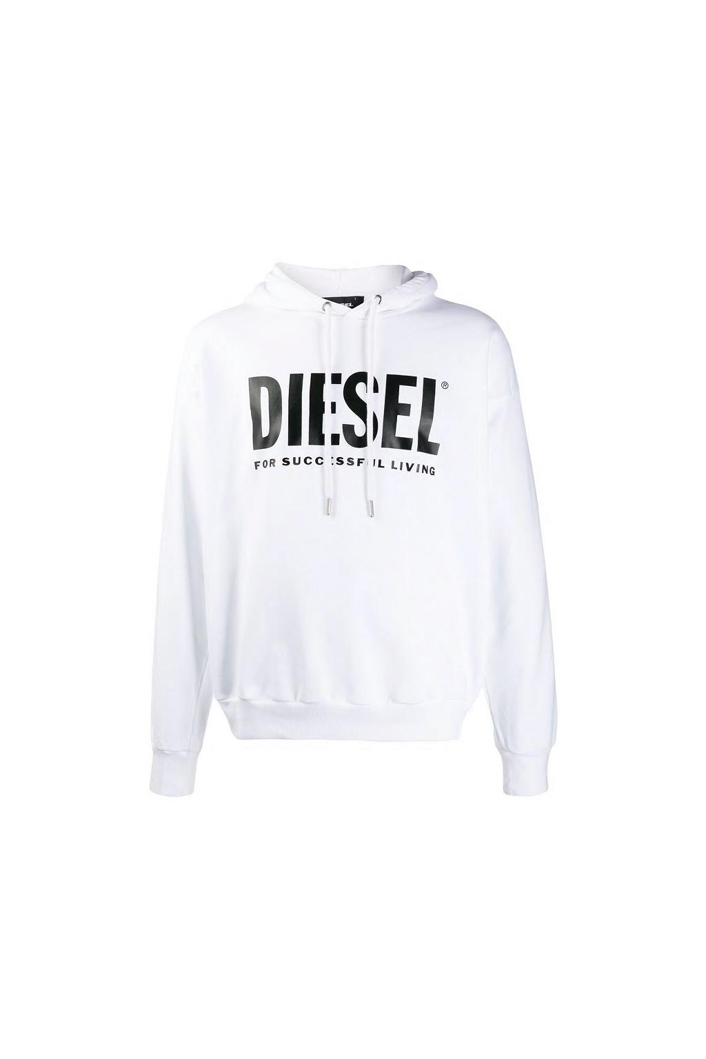 00SAQJ 0BAWT Diesel mikina S Gir Hood Division Logo bílá