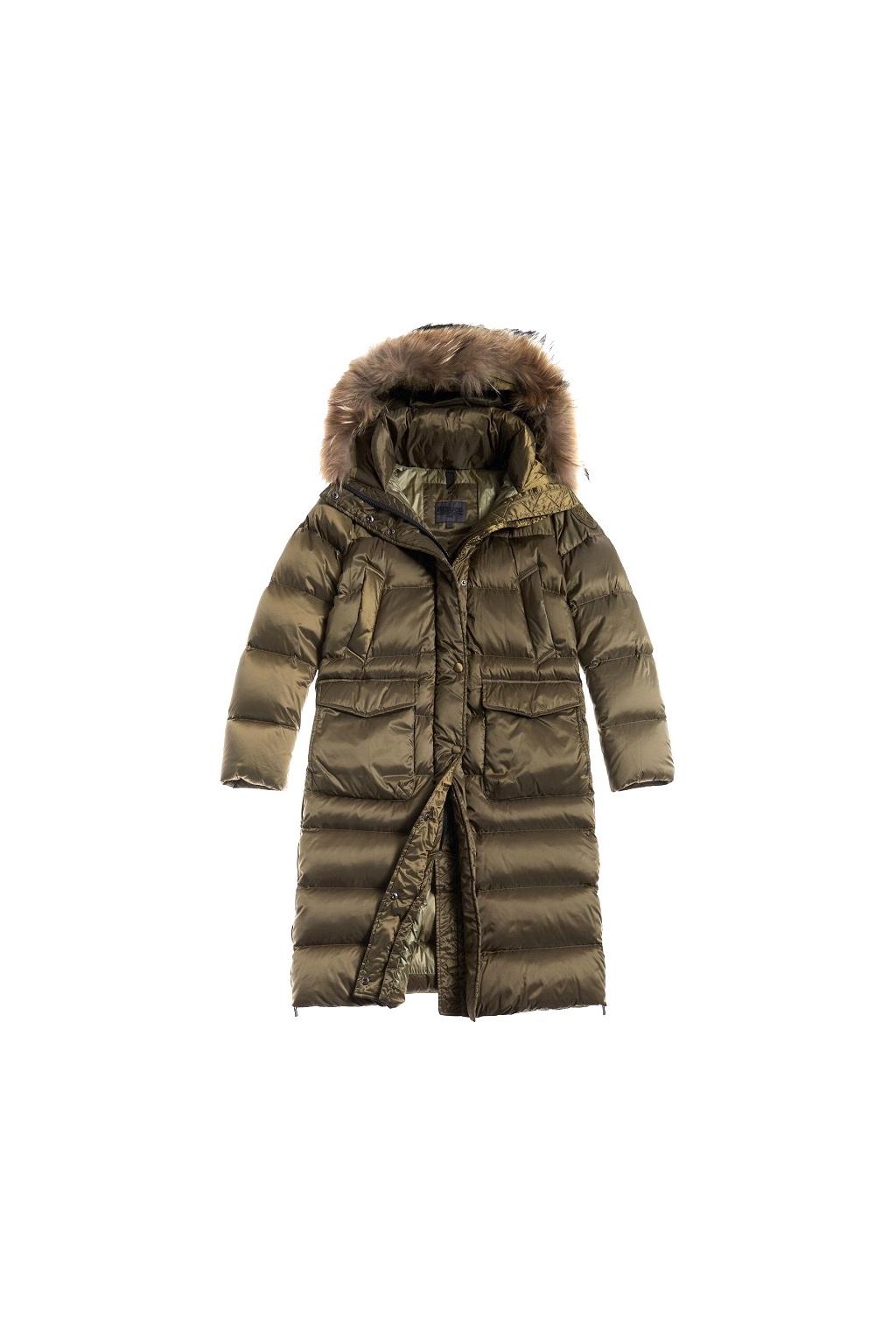20WBLDK03151 Dámský péřový kabát Blauer zelený