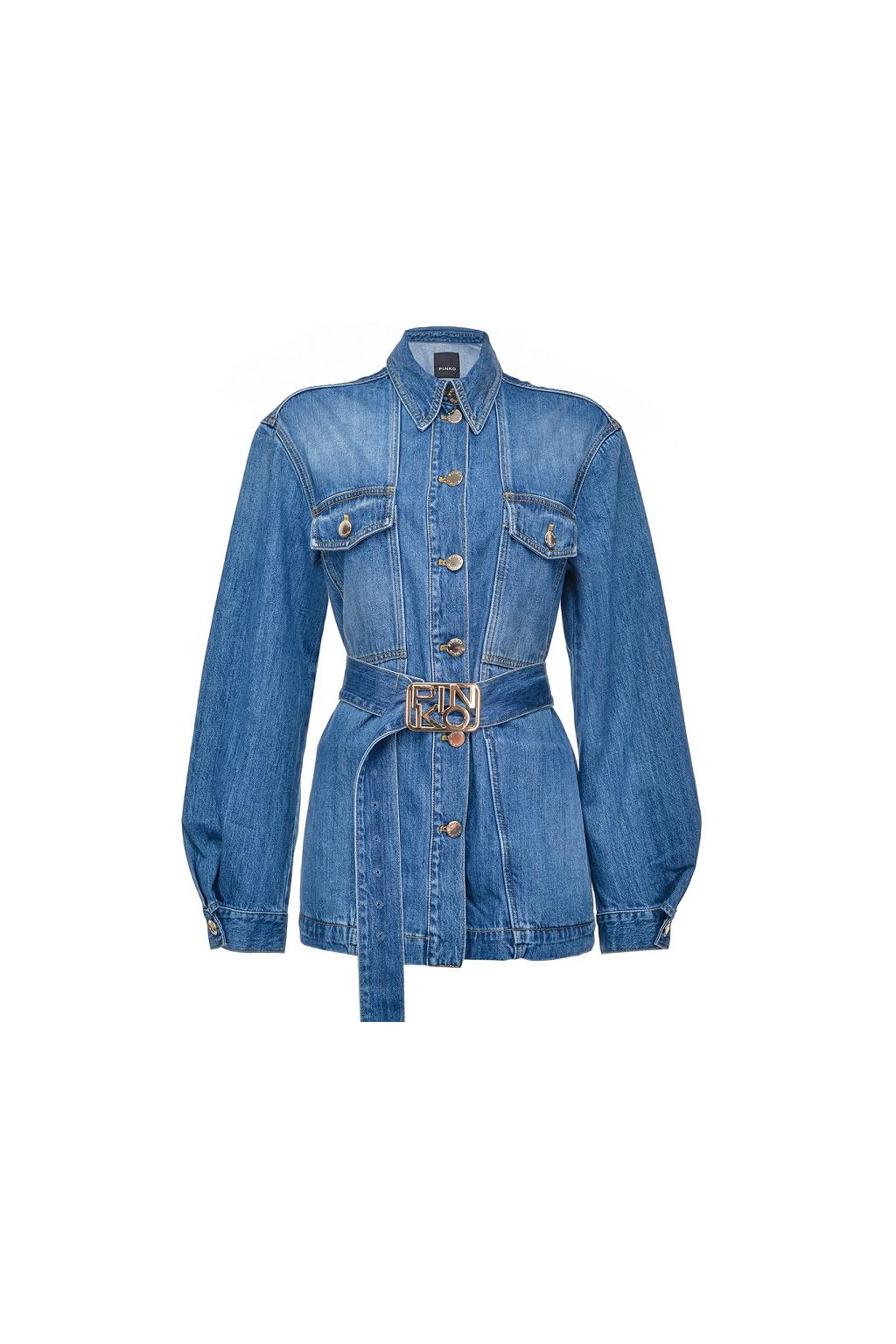1J10HKY649 G14 Dámská džínová bunda Pinko Connie PJ297 modrá