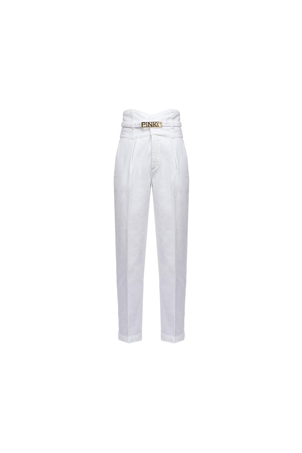 1J10J9Y6FH Z08 Dámské kalhoty  Pinko Ariel 5 Bustier PJ340B bílé