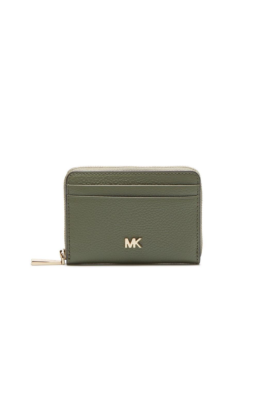 34F9GF6Z1L Army Green Peněženka Michael Kors Mott Coin Card Case Leather zelená