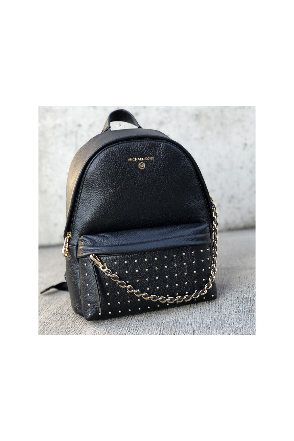 30F0G04B2I Black Dámský batoh Michael Kors Slater Medium Backpack Leather černý