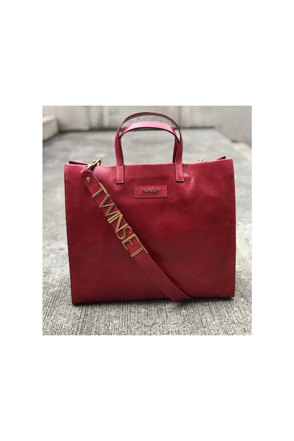 999TB7090 00034 Dámská kožená kabelka Twinset červená