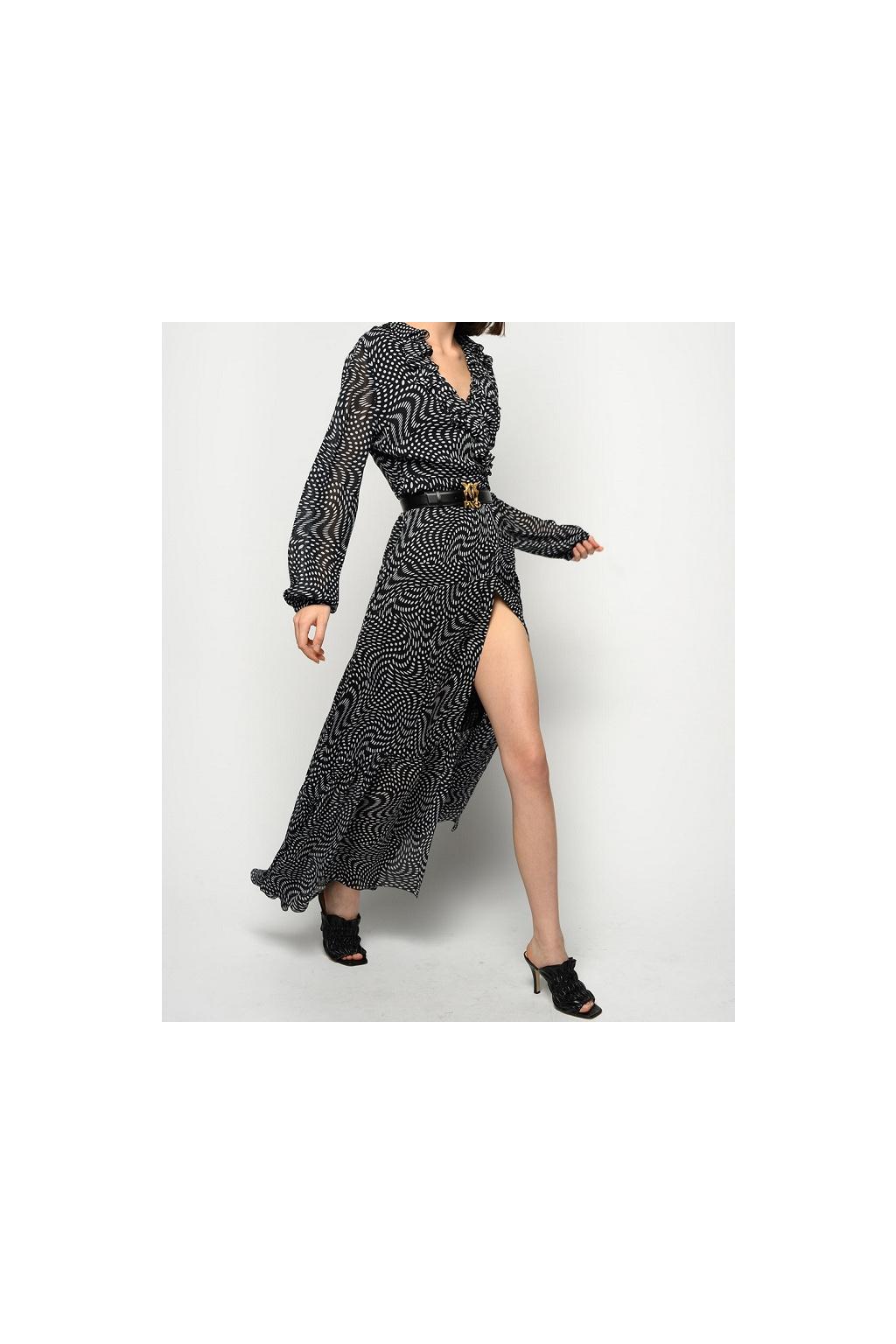 1G15QY8421 ZZ2 Dámské šaty Pinko Umile černobílé
