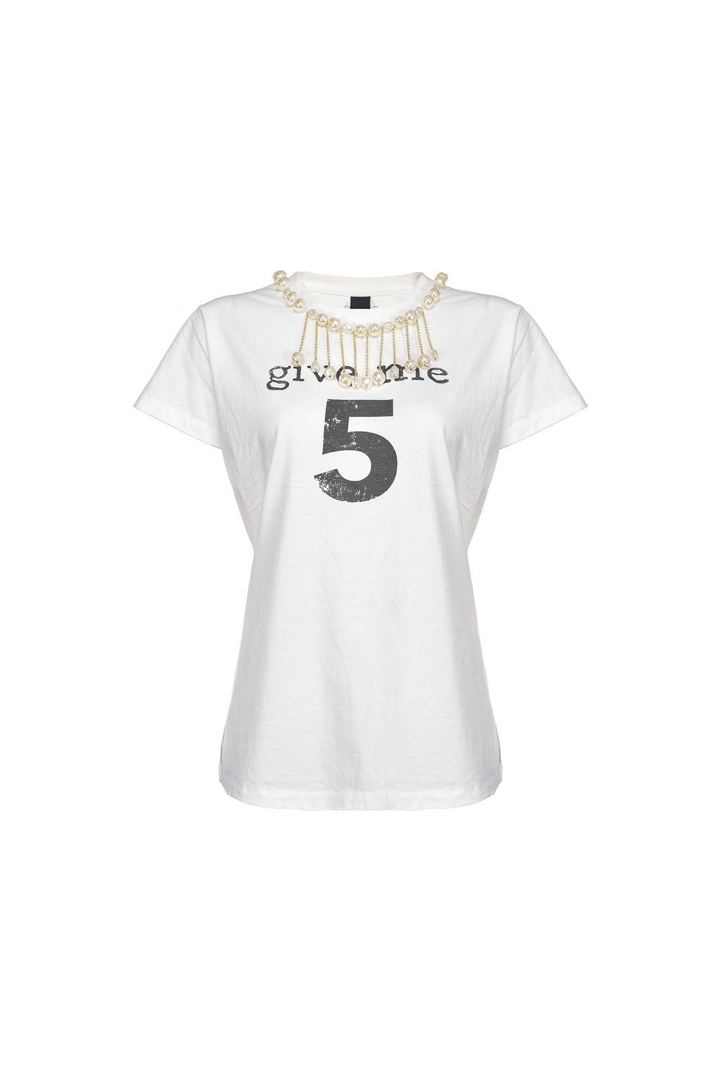 1G15NU Y6YX Z14 Dámské tričko Pinko Estroverso bílé