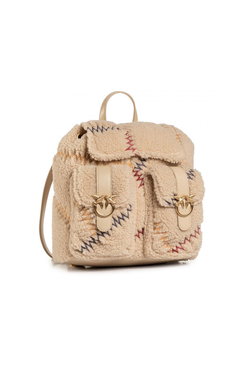 1P21T8 Y6JT C72 Dámský batoh Pinko Love Mini Backpack Furry béžový
