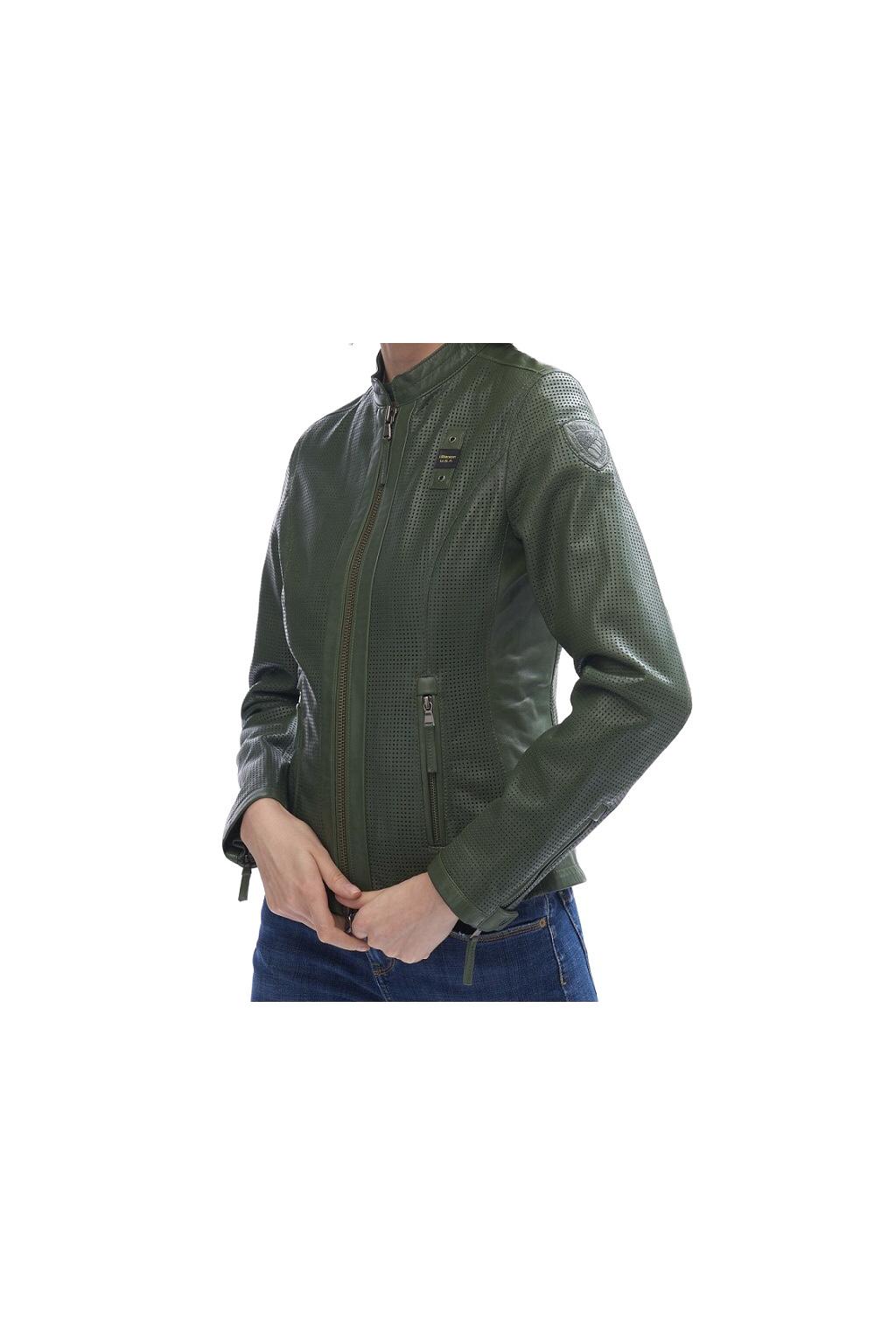20SBLDL02153692 Dámská kožená bunda Blauer zelená