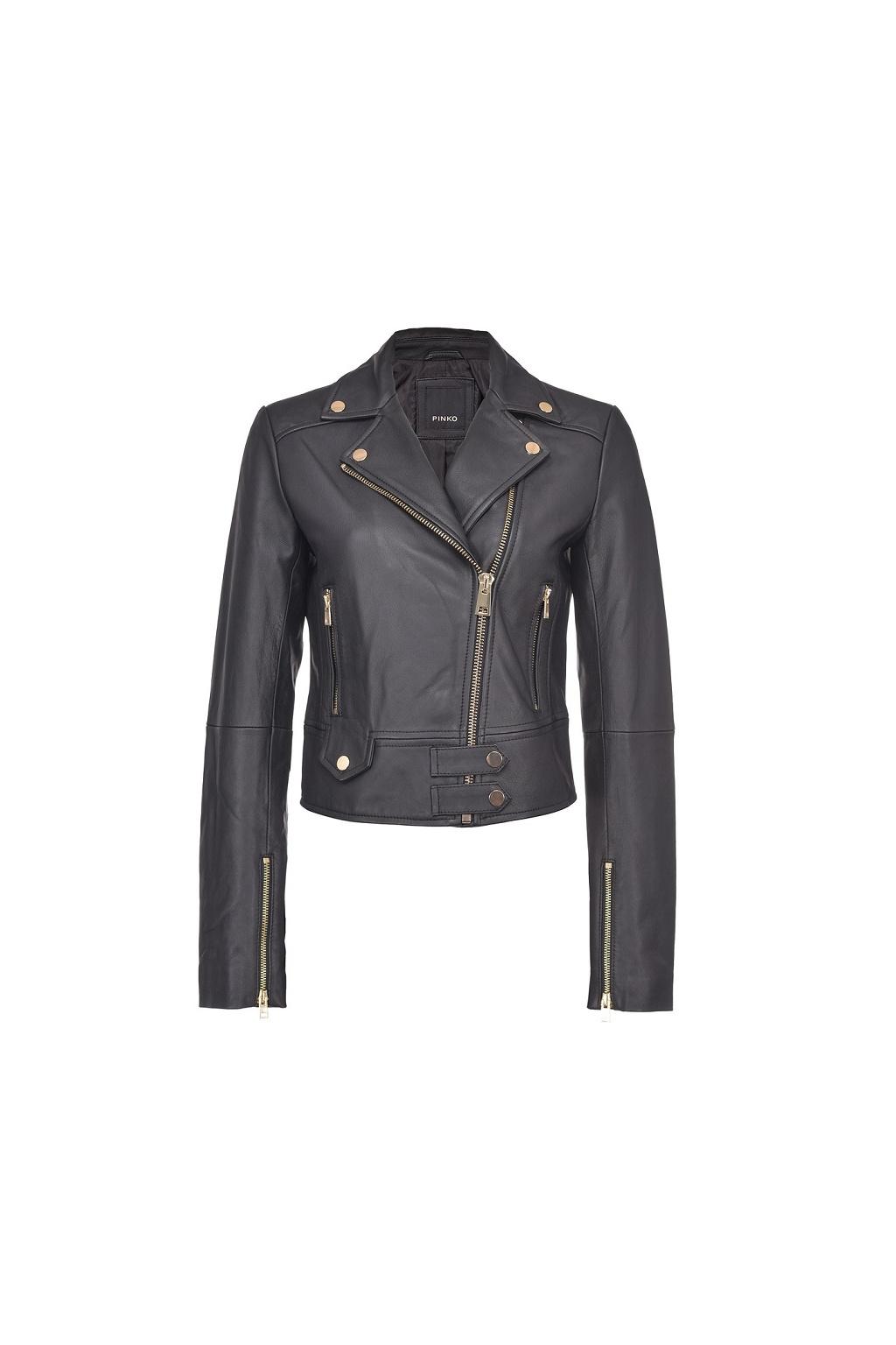 1G15MKY6WL Z99 Dámská kožená bunda Pinko Sensibile 7 černá