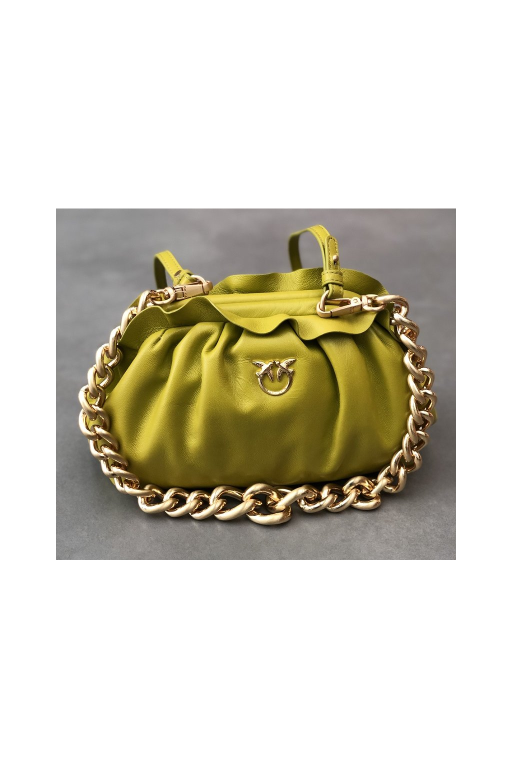 1P2236 Y6Y8 T56 Dámská kabelka Pinko Mini Chain Clutch Fraimed Chain C zelená