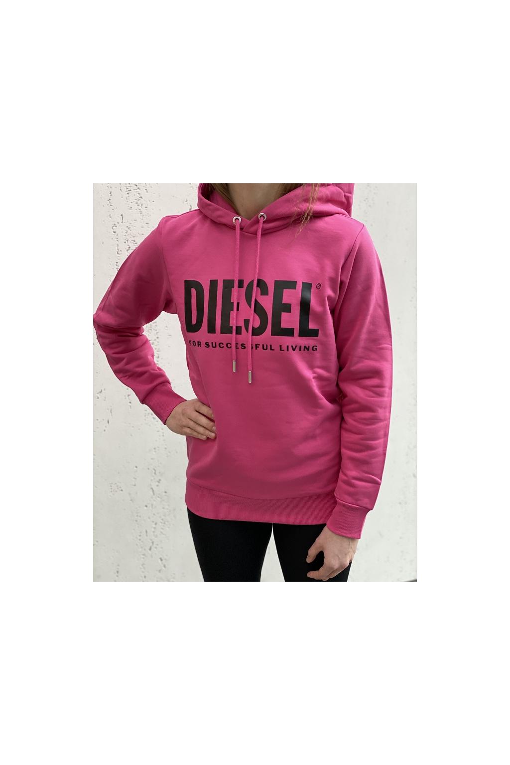 00SAQJ 0BAWT3BG Dámská mikina Diesel S Gir Hood Division Logo růžová