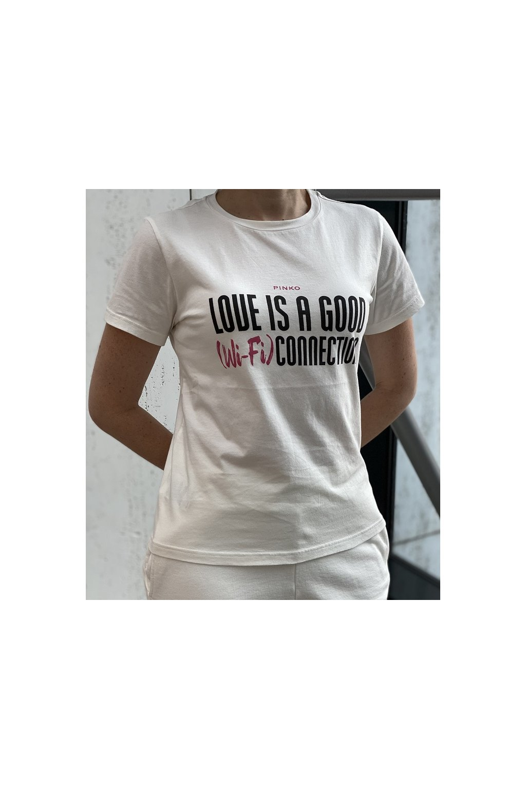 1G163C Y731 Z04 Dámské tričko Pinko Neutrale bílé